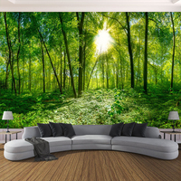 Custom 3D Photo Wallpaper 3D Stereoscopic Space Green Forest Trees Nature Landscape Large Mural Wallpaper For