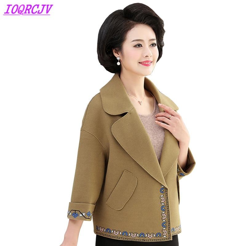 Veste courte pour femmes 2018 printemps et automne grande taille 5XL blazer manteau en tissu de laine mode broderie manteau femme IOQRCJV H367