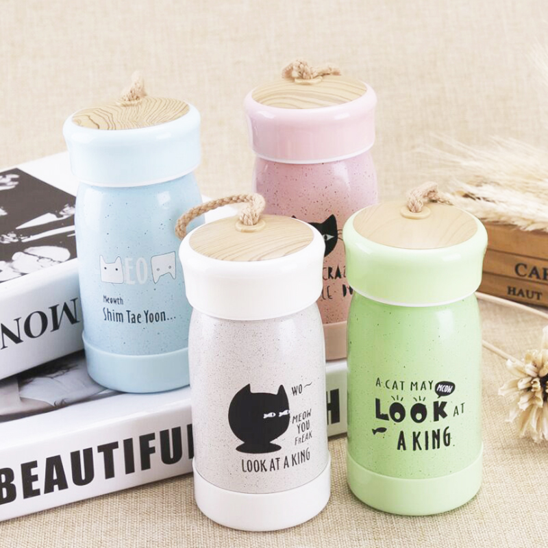 Anti Ironing Glass Inner Glass Portable Travel Mug Lovely Schoolgirl Korean Cup Set Free Gift Tea Partition And Cup Cover