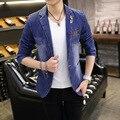 Новый 2016 мужская мода джинсовая блейзер досуг blazer