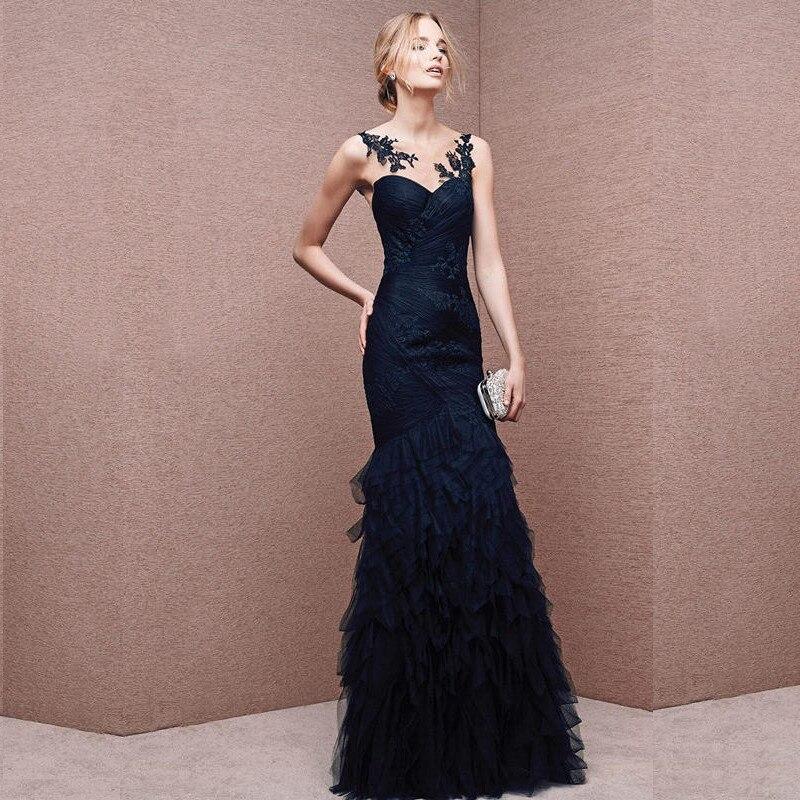 Индивидуальный заказ Scoop шеи Королевский Синий Вечерние платья Тюль с аппликацией с вышивкой пикантные Длинные вечерние платье тюль платье