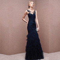 Custom Made Scoop Neck Royal Blue Evening Gowns Tulle With Appliques Embroidery Sexy Long Party Dress Tulle Gown Plus Size