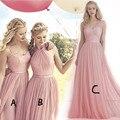 Moda elegante rosa longo Da Dama de honra Vestidos de 2016 simples plissado tulle mulheres vestido convidado para a festa de casamento vestido de festa formal