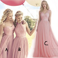 fashion elegant pink long Bridesmaid Dresses 2016 simple pleat tulle women formal guest dress for wedding party vestido de festa