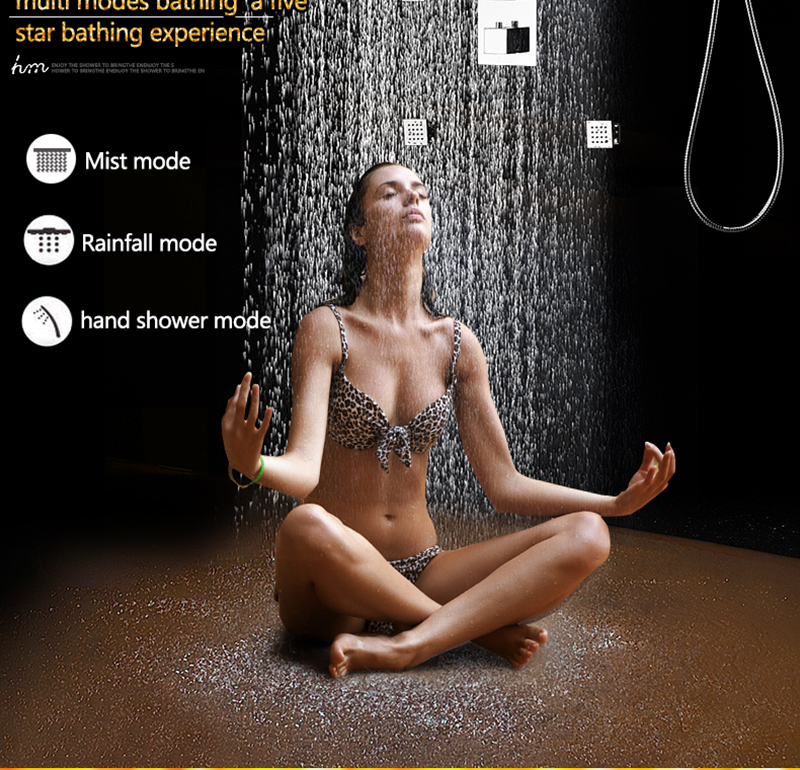 20 Shower Head Rainfall Mist SPA 4 Ways Concealed Thermostatic Shower Set 6 Massage Body Jets Panel Embedded Ceiling  2016 hm (4)