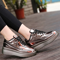 2016 new fashion creepers shoes women Flats Shoes Pu Patent Leather Shoes Shiny Lace Up Womens Flat Platform Shoes