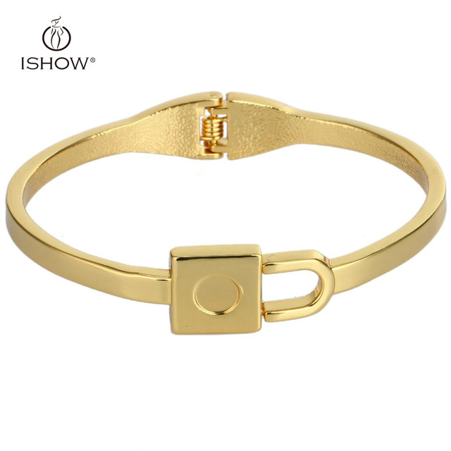 New Gold color Bangles Womens Mens Lock Minimalist Golden Jewelry