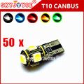 50 X canbus T10 led  xenon White Canbus Error Free accessory Car T10 W5W 194 168 2825 LED5 smd Wedge Light Bulb error canceller