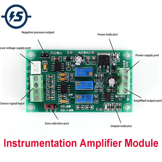 AD620 Instrumentation Amplifier High Gain Differential Signal Programmable Amplifier MV Signal Pressure Weighing Power Supply