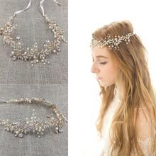Gold Silver Rhinestone Wedding Headband Pearl Hair Jewelry Handmade Women Headpiece Wedding Hair Accessories Bridal Headwear