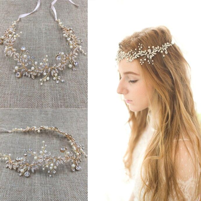Gold Silver Rhinestone Wedding Headband Accessories Handmade Bridal Hair Vine Accessories Women Jewelry