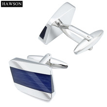 1 Pair Retail Cooper Dark Blue Curved Design Popular Cuff Links For Men Come With Box