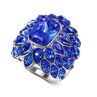 Low price Rings for women blue stone big ring female ring fashion jewelry accessories free shipping Romantic style
