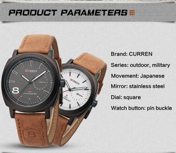 CURREN Original Brand Men Watch Luxury Leather Strap Quartz Watch Waterproof Clock 8139 12
