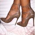 SHOFOO sapatos, moda novidade frete grátis, luz de ouro de malha, 11 cm sapatos de salto alto, bombas do dedo do pé apontado. TAMANHO: 34-45
