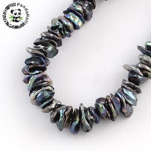 Image 1 - Boulettes de perles Keshi, nucléées, bobines de perles, DarkSlateGray environ 5 ~ 10x4 ~ 8mm, trou: 0.5mm, environ 169 pièces/brin, 14.96 pouces