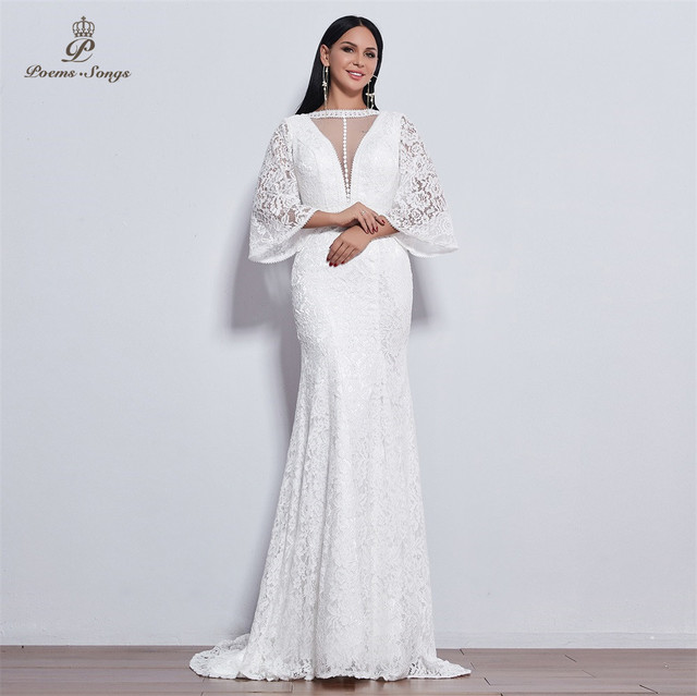 Poems Songs 2019 new elegant Flare sleeve style lace wedding dress for wedding Vestido de noiva Mermaid  ivory / white color