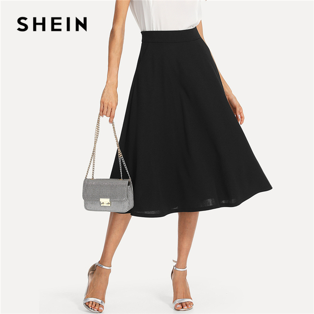 שיין שחור אלגנטי סלנט כיס צד מעגל אמצע מותניים ארוך חצאית קיץ נשים משרד ליידי Workwear מוצק חצאיות
