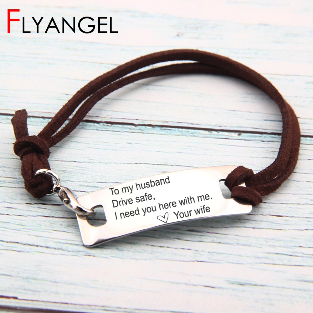 Chic New Design Adjustable Bangle To My Husband Drive Safe Your Wife Jewelry Gift To Couples Driver Beautiful Bracelets Delicate Modern Design Bracelets & Bangles