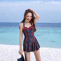 VERZY 2018 Push Up One Pieces Swimsuit Dress Ties Lady Skirted Bathing Suit Cross Hollow Lace Up Women Swimwear Print Beachwear