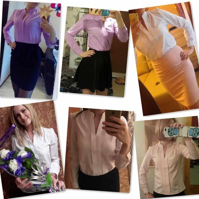 Mode Vrouwen Solid White Shirts Office Lady Werkkleding Lente Zomer Lange Mouwen Chiffon Blouse Vrouwelijke Elegante V-hals Tops
