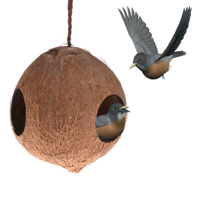 Bird Feeder Nest Dispenser Food Feeding Hiding Cave Coconut Shell Parrots Hanging House Кормушка