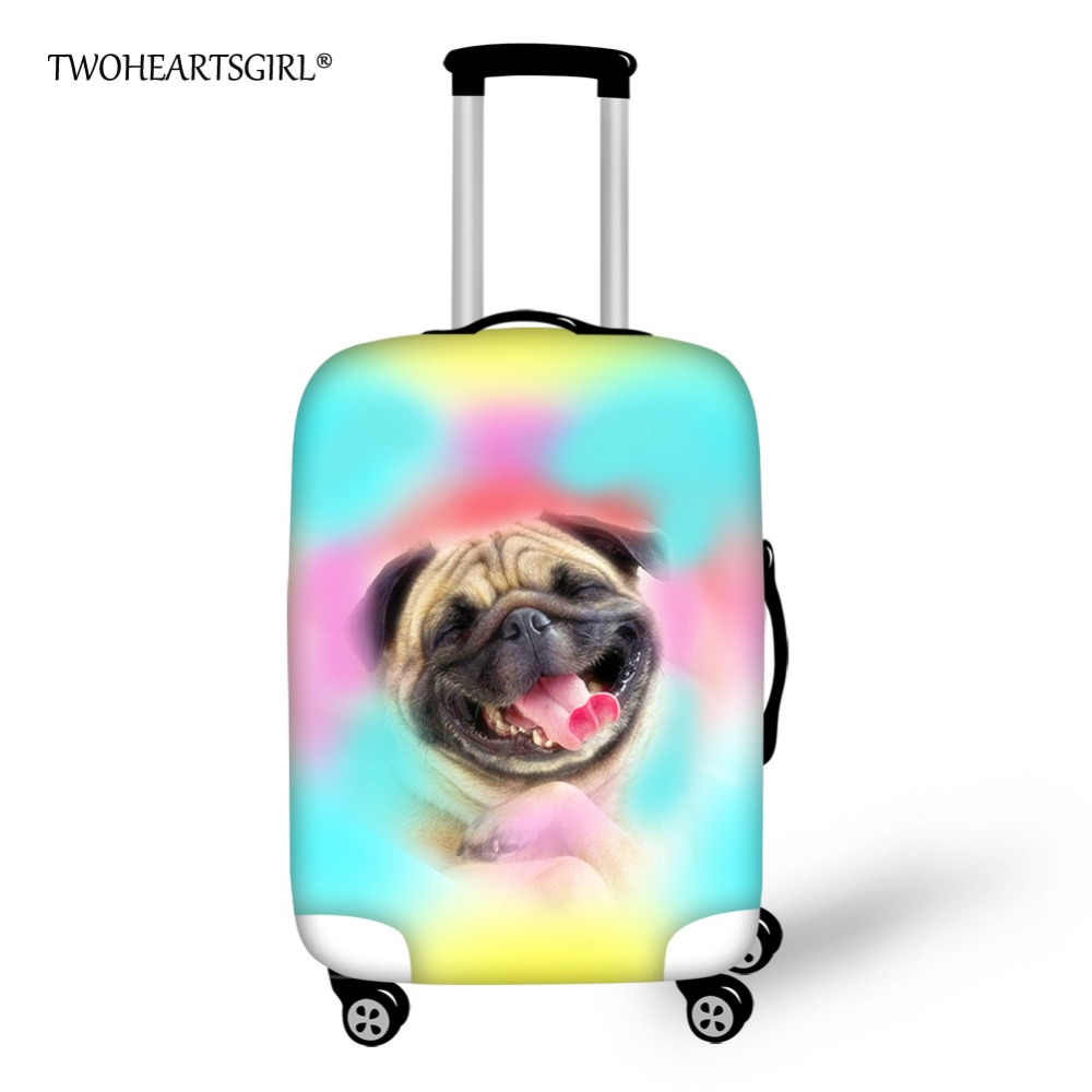 TWOHEARTSGIRL Colorful Animal Pug Dog Husky Luggage Set Cover Anti-dust Travel Suitcase Cover Elastic 18-28inch Luggage Cover