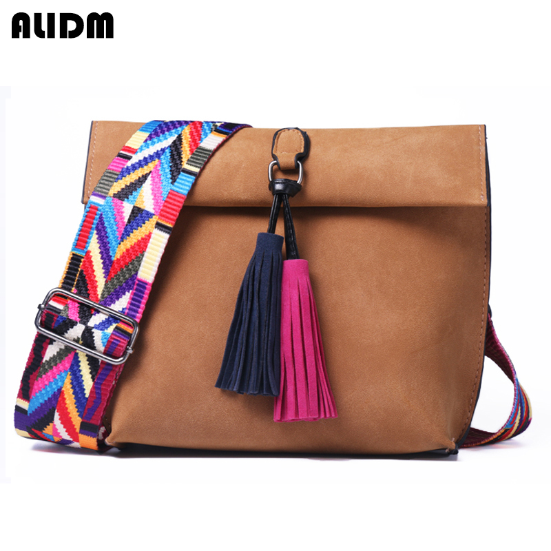 Women Nubuck Leather bags Designer Tassel Crossbody Bag With Colorful Strap Shoulder Bag Female Handbags women messenger bags