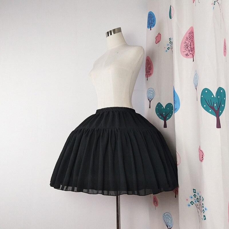 Image 3 - Lolita Chiffon Cosplay Petticoat Underskirt Short Women Black Petticoat Wedding Accessories 2018Petticoats   -