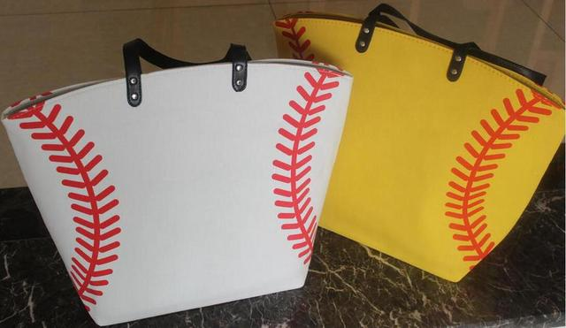 wholesale new yellow softball white baseball Jewelry Packaging Blanks Kids Cotton Canvas Sports Bags Baseball Softball Tote Bag 5