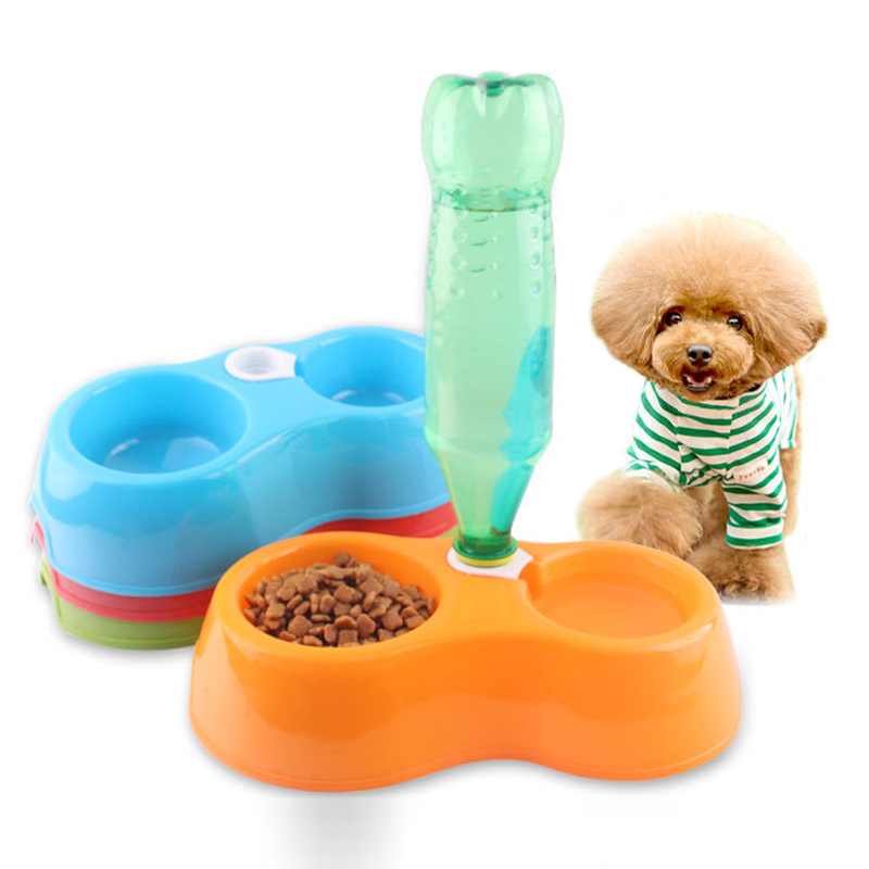 Portable Pet Feeder Plastic Dual Port Automatic Feeder Water Drinking Feeding Basin Bowls For Cats Pet Dogs Without Bottle