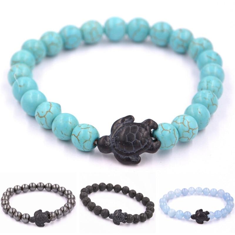 fe500a2199 Summer Style Sea Turtle Beads Bracelets For Women Men Classic 8MM Blue  Natural Stone Elastic Friendship Beach Bracelet