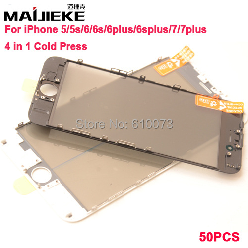 imágenes para Nueva Prensa Fría 4 en 1 Pantalla de Cristal Frontal con Marco y OCA y Polarizador Para iPhone 7 7 plus 6 6 s plus 5S 5 Touch Panel Reemplazo de DHL