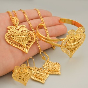 Image 2 - Anniyo Heart Dubai Jewelry sets Ethiopian Necklaces Earrings Ring Bangle African Gold Color Arab Wedding Bride Dowry #020506