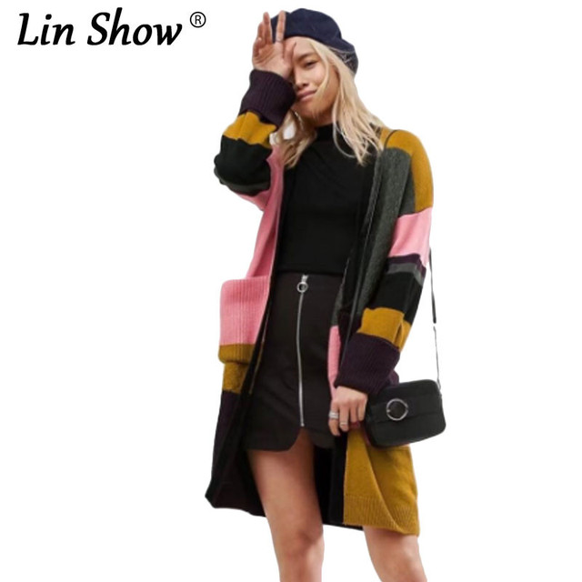LINSHOW Casual Multi-color Patchwork Cashmere Sweater Pocket Long Sleeve  Open Stitch Women Cardigan Sweater Winter Womens Coats 3cbfd6ff0