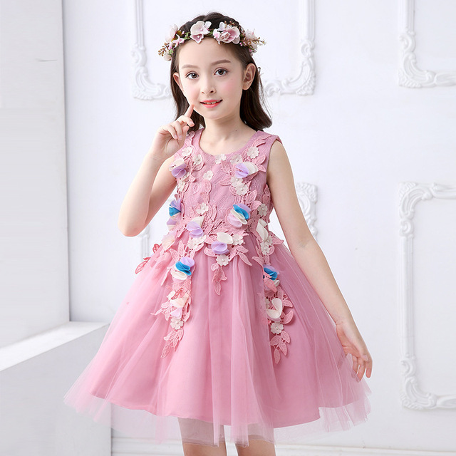 Retail Appliques Tassel Lace Princess Girls Party Prom Dress Lovely ...
