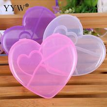 1Pc Clear White 5 Cells Love Heart Bowknot Jewelry Display Storage Case Box Container for Bead Ring Earring Necklace Accessories