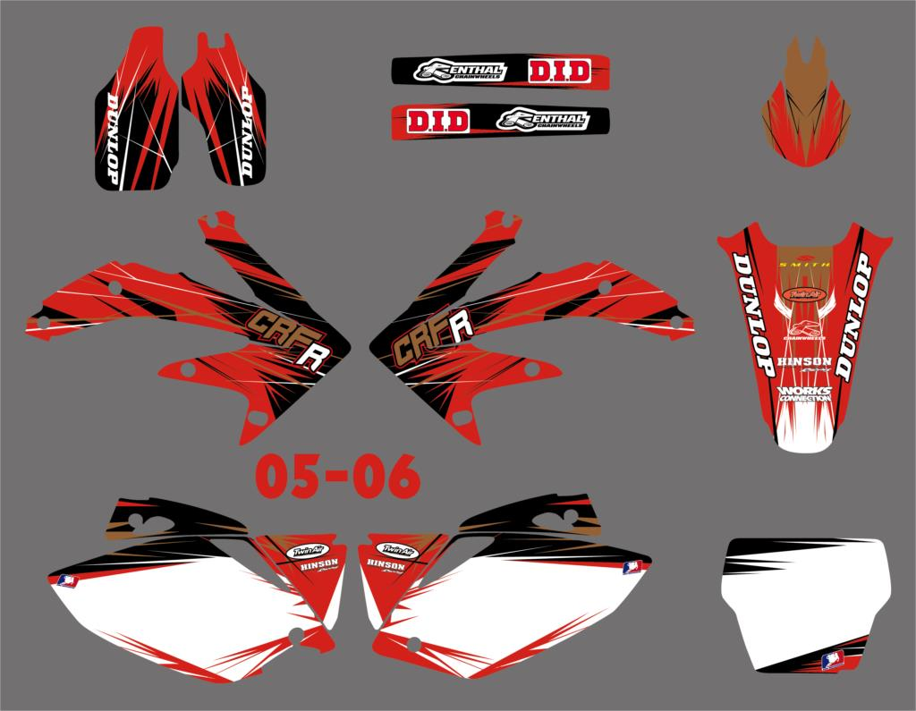 Motorcycle Graphic Decal Sticker For Honda CRF450 CRF450R CRF 450 450R 2005 2006 2007 2008 for honda crf 250r 450r 2004 2006 crf 250x 450x 2004 2015 red motorcycle dirt bike off road cnc pivot brake clutch lever