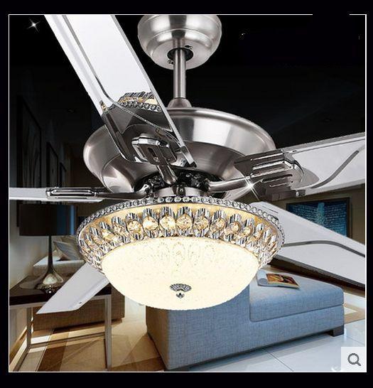 Luxury Decorative Crystal Ceiling Fan Light Living Room Bedroom Dining Room  Fan Ceiling Fan Light 48inch