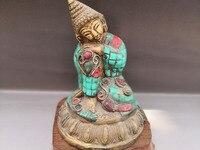 Китай Старый тибетский Буддизм Медь Мозаика Бирюза Спящая статуя Будды