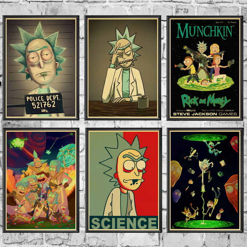 Cartoon Poster Vintage Poster Rick And Morty Prints High Quality  Wall Stickers  For Living Room Home Decoration