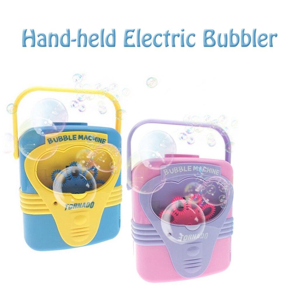Brinquedo Máquina de Bolha Elétrica Handy Ventilador Soprar Bolhas de Sabão automática Fabricante de Partidos Brinquedos Brinquedos de Aprendizagem das Crianças Ao Ar Livre Indoor