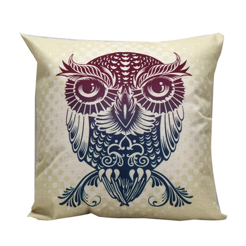 Ouneed Healthy Pillow Cove Luxury Linen Blend Owl Pattern Sofa Waist Throw Cushion Cover Home Decor Office Home Travel Use
