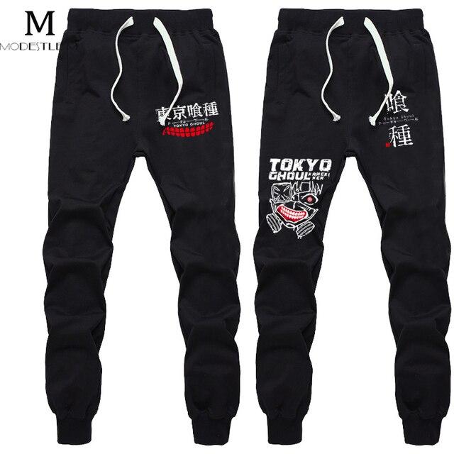 Largo Masculino Pantalones Hombres Pantalones Deportivos Hombres Pantalones Ropa del Anime de Tokio Ghoul Hombres Marca Elástico Ejercicio Negro Pantalones de Algodón para Hombres
