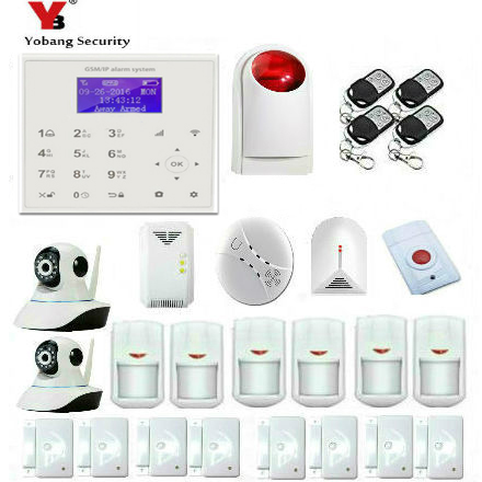 YobangSecurity Wifi GSM GPRS Home Burglar Security Alarm System Wireless Siren Ip Camera with Gas Fire Smoke Sensor APP Control wireless alarm accessories glass vibration door pir siren smoke gas water sensor for home security wifi gsm sms alarm system