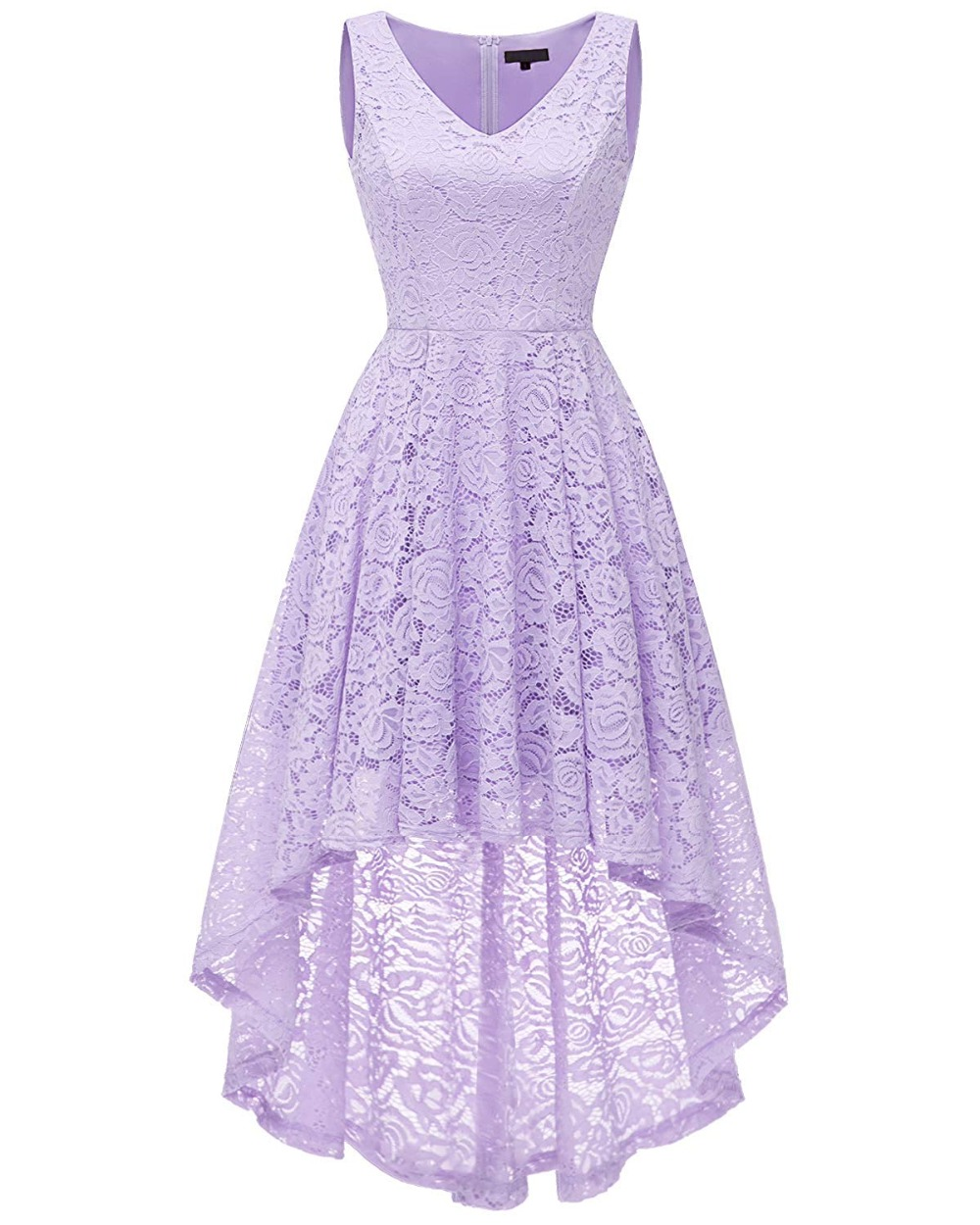 JaneVini Vintage Floral Lace High Low Prom   Dress   V-Neck Short Front Long Back   Bridesmaid     Dresses   Ankle Length Wedding Party Gown