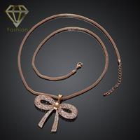 Christmas Gift Fashion Gold Platinum Plated With Cool Hollow Out Bow Crystal Long Link Chain Necklaces