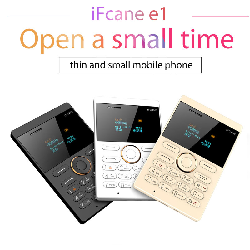 Wholesale 10 pcs/lot Ultra Thin Children Cellphone Mp3 Ifcane E1 Mini Mobile Pocket Old Phone LED Screen Qwerty GSM PK M5 X6 X8