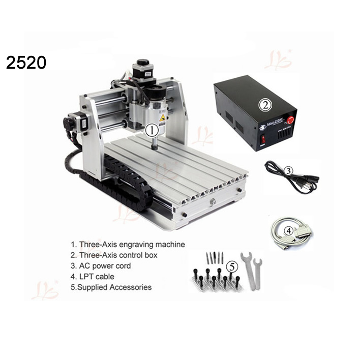 Cheap mini cnc milling machine 2520 woodworking router lathe 3axis ER11 collet mach3 control high quality 220v/110v cnc milling machine ethernet mach3 interface board 6 axis control