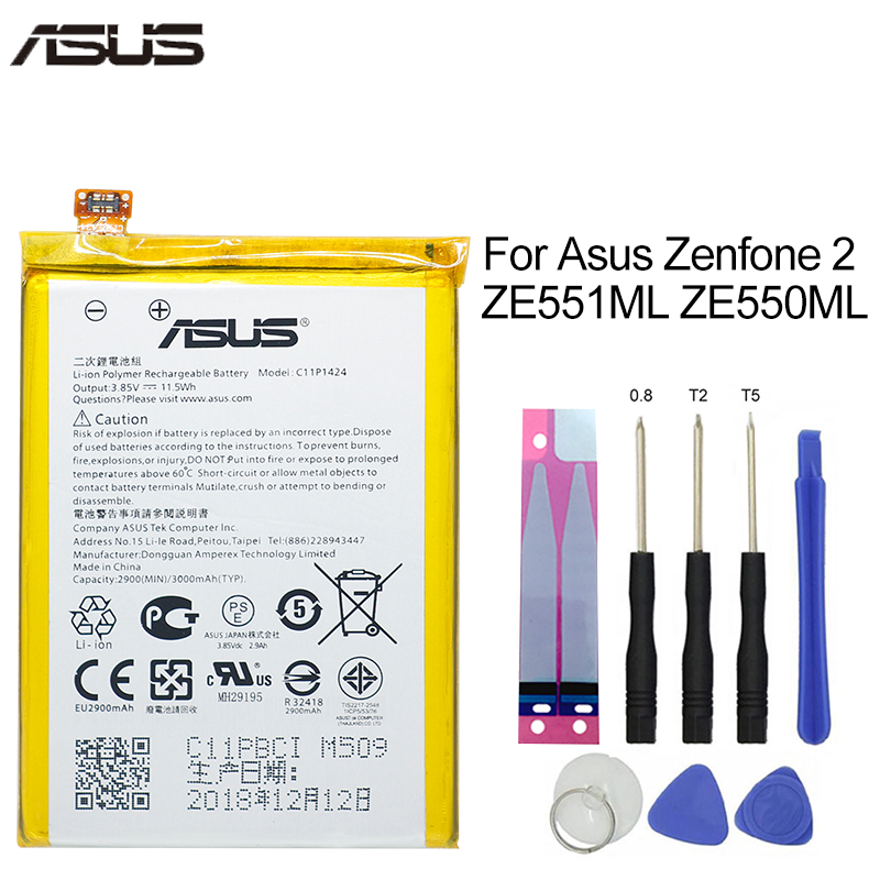 ASUS Original Replacement Phone Battery C11P1424 3000mAh For Asus ZenFone 2 ZE551ML ZE550ML Z00AD Z00ADB Z00A Z008D Free Tools